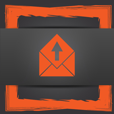 send email: Send e-mail icon. Internet button on grey background. Stock Photo