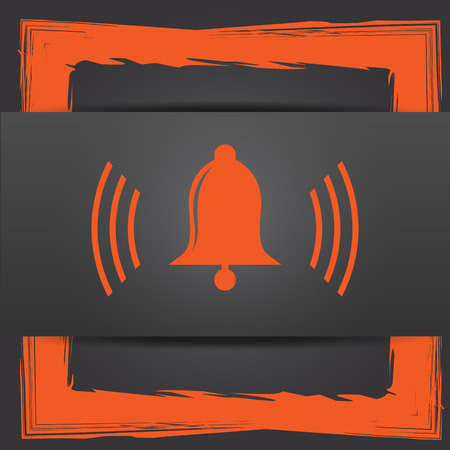 safe and sound: Bell icon. Internet button on grey background.