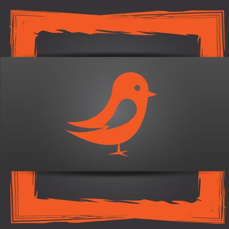 chirp: Bird icon. Internet button on grey background.