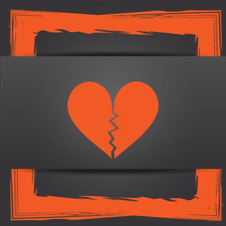delusion: Broken heart icon. Internet button on grey background. Stock Photo