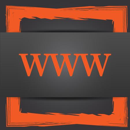 www icon: WWW icon. Internet button on grey background. Stock Photo
