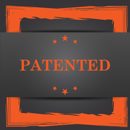 secured property: Patented icon. Internet button on grey background. Stock Photo