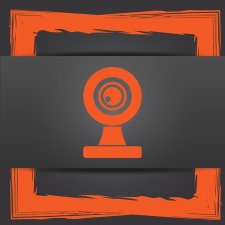 webcam: Webcam icon. Internet button on grey background. Stock Photo