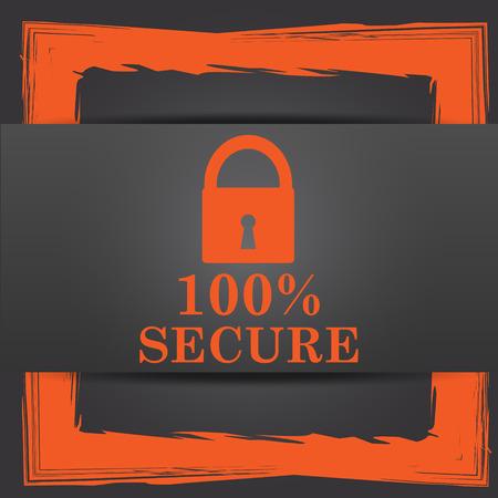 reassurance: 100 por ciento icono seguro. Bot�n de internet sobre fondo gris.