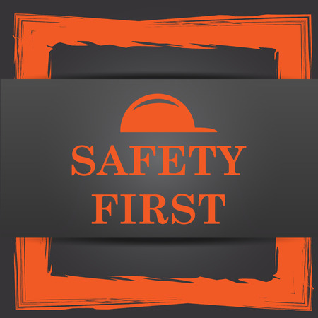 cautionary: Safety first icon. Internet button on grey background.