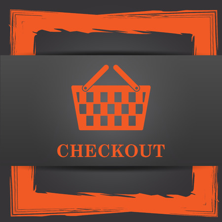 checkout: Checkout icon. Internet button on grey background. Stock Photo