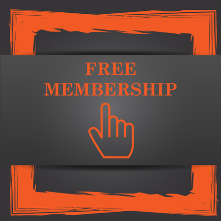 subscriber: Free membership icon. Internet button on grey background.