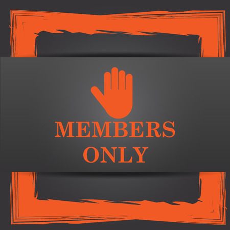 closed club: Members only icon. Internet button on grey background. Stock Photo