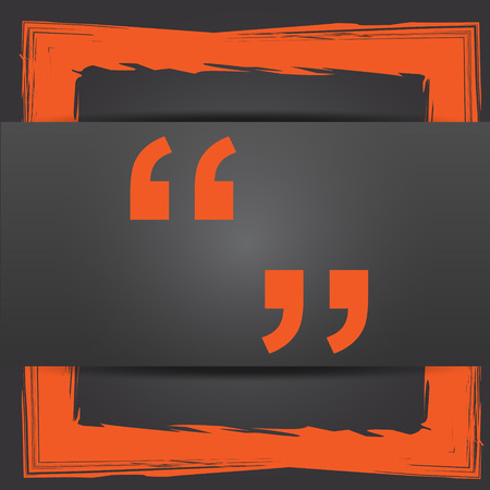 quotation: Quotation marks icon. Internet button on grey background.