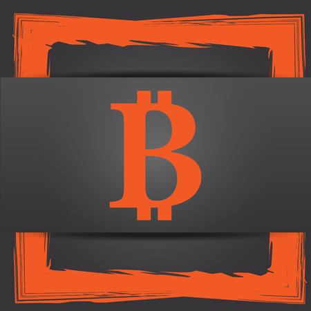 p2p: Bitcoin icon. Internet button on grey background. Stock Photo