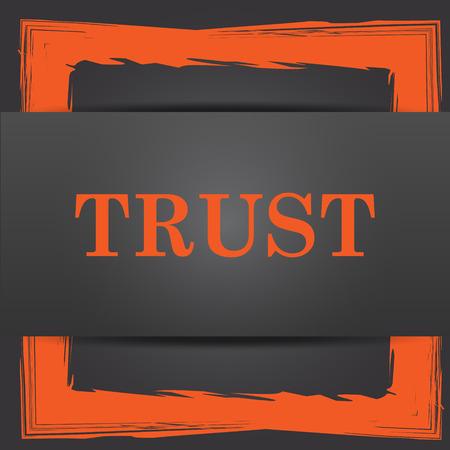 trust icon: Trust icon. Internet button on grey background.