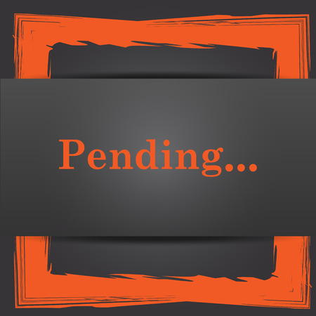 pending: Pending icon. Internet button on grey background. Stock Photo
