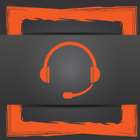 hear business call: Headphones icon. Internet button on grey background.