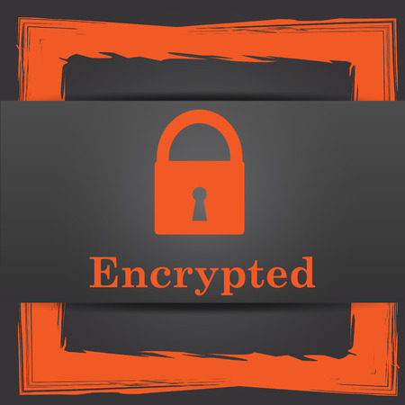 encrypted: Encrypted icon. Internet button on grey background. Stock Photo