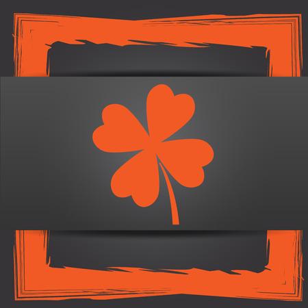 clover button: Clover icon. Internet button on grey background.