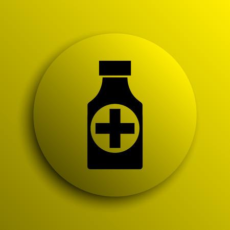 pills bottle: Pills bottle  icon. Yellow internet button. Stock Photo