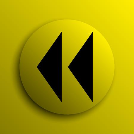 rewind icon: Rewind icon. Yellow internet button.