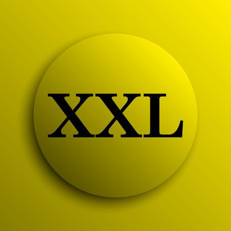 extra large size: XXL  icon. Yellow internet button.