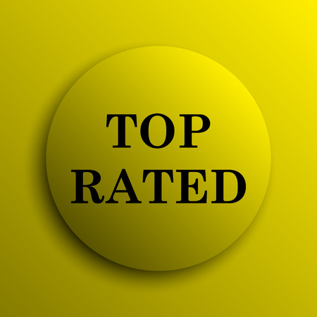 top rated: Top rated  icon. Yellow internet button.
