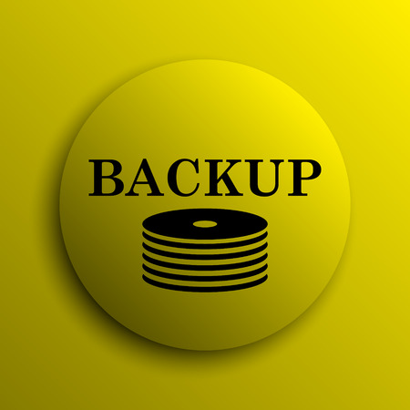 secure backup: Back-up icon. Yellow internet button.