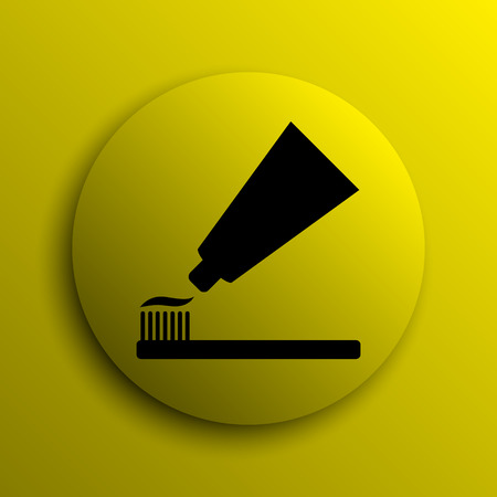 bristle: Tooth paste and brush icon. Yellow internet button.