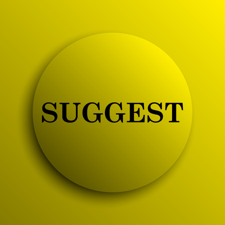 suggest: Suggest icon. Yellow internet button. Stock Photo