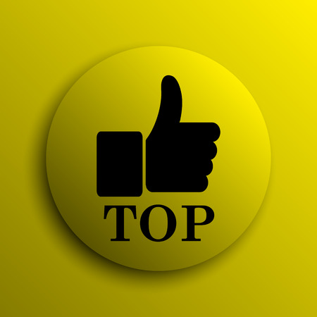 best rated: Top icon. Yellow internet button. Stock Photo