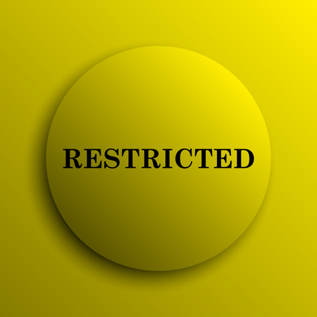 restricted icon: Restricted icon. Yellow internet button.
