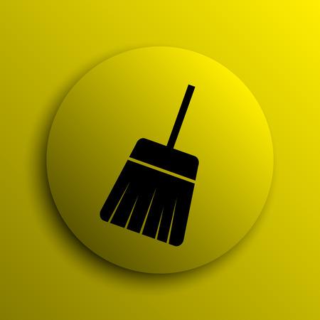 sweep: Sweep icon. Yellow internet button. Stock Photo