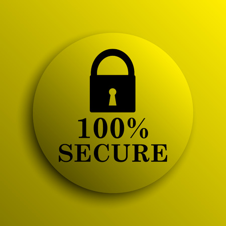 secure icon: 100 percent secure icon. Yellow internet button.