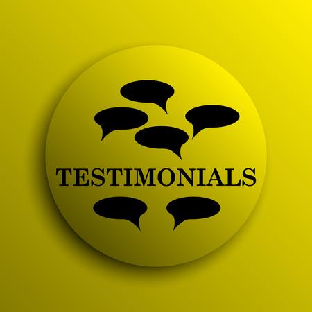 testimony: Testimonials icon. Yellow internet button.