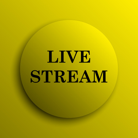news cast: Live stream icon. Yellow internet button. Stock Photo