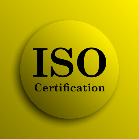 certification: ISO certification icon. Yellow internet button. Stock Photo