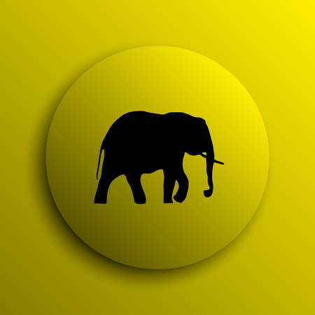 endanger: Elephant icon. Yellow internet button. Stock Photo