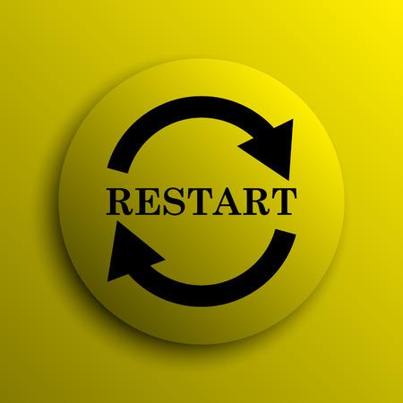 restart: Restart icon. Yellow internet button. Stock Photo