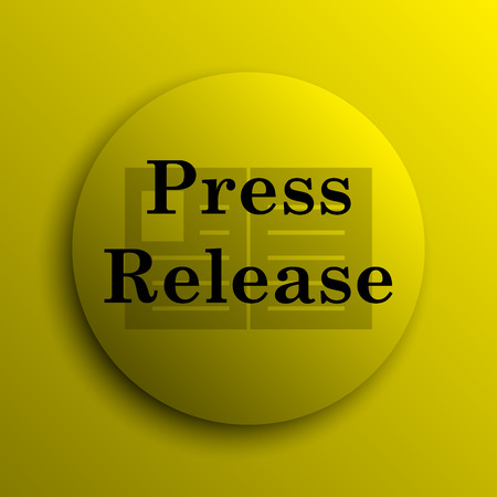 release: Press release icon. Yellow internet button. Stock Photo