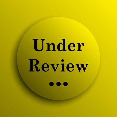review icon: Under review icon. Yellow internet button.