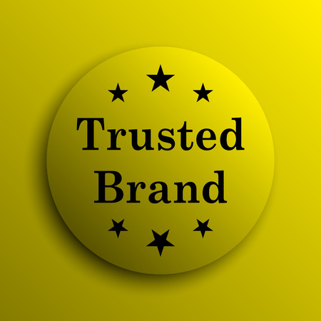 trusted: Trusted brand icon. Yellow internet button.