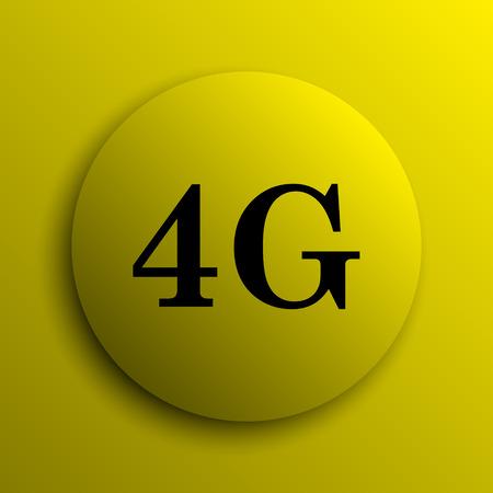 4g: 4G icon. Yellow internet button. Stock Photo