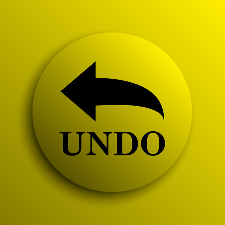 undo: Undo icon. Yellow internet button. Stock Photo