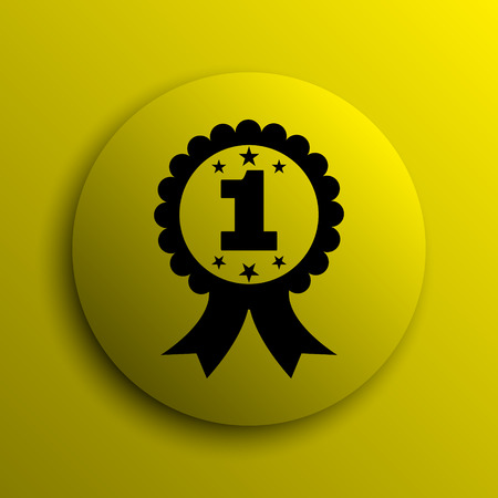 first prize: First prize ribbon icon. Yellow internet button. Stock Photo