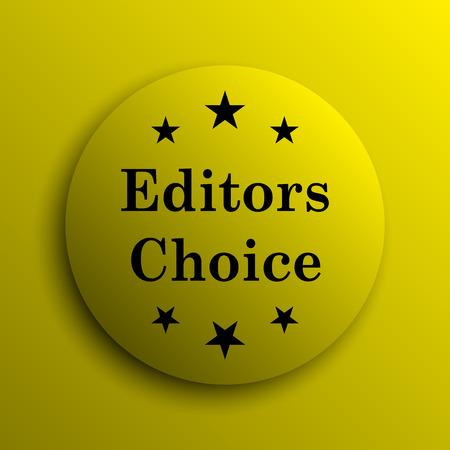 editors: Editors choice icon. Yellow internet button.