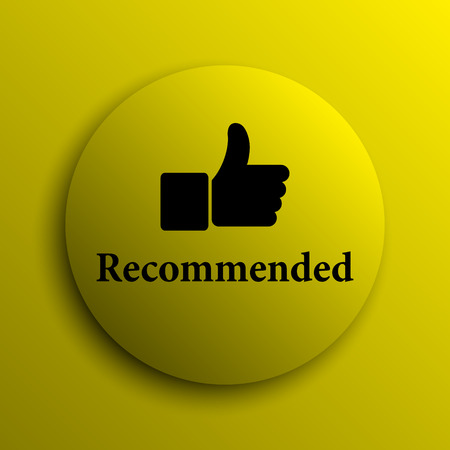 recommendations: Recommended icon. Yellow internet button. Stock Photo