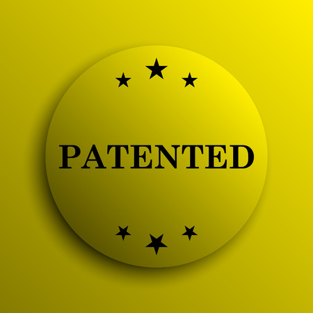 plagiarism: Patented icon. Yellow internet button.