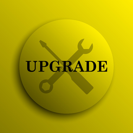 interconnect: Upgrade icon. Yellow internet button. Stock Photo