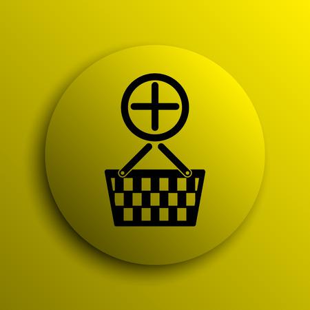 add to basket: Add to basket icon. Yellow internet button. Stock Photo