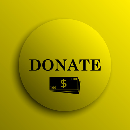 Donate icon. Yellow internet button.