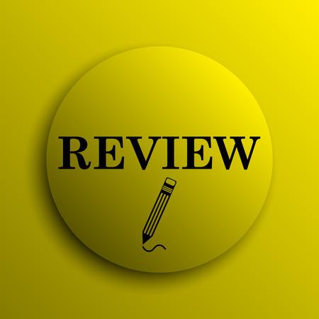 review icon: Review icon. Yellow internet button. Stock Photo