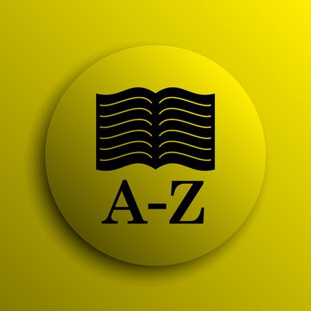 A-Z book icon. Yellow internet button. Фото со стока