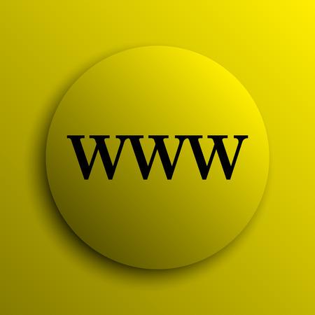 www icon: WWW icon. Yellow internet button.